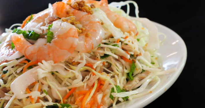 Photo of Vietnamese salad with shrimp.