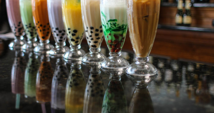 Photo of assorted bubble tea drinks.